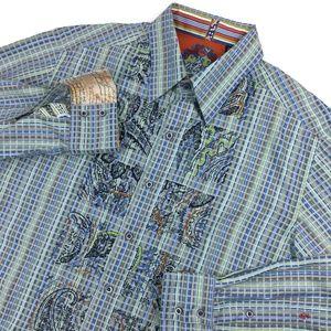 Robert Graham Shirt Embroidery Vaporwave Sz Medium